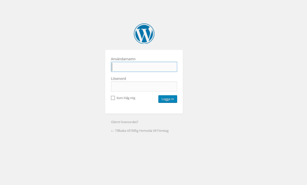 wordpress-loginsida